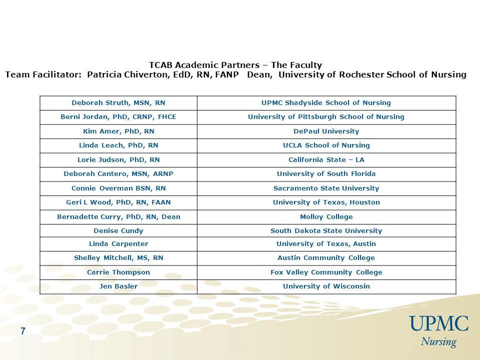 7 TCAB Academic Partners – The Faculty Team Facilitator: Patricia Chiverton, EdD, RN, FANP Dean, University of Rochester School of Nursing Deborah Str