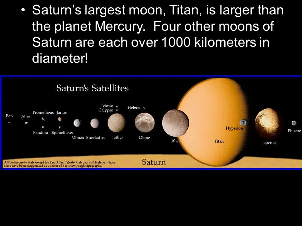Saturn's largest moon, Titan, is larger than the planet Mercury. Four other moons of Saturn are each over 1000 kilometers in diameter!