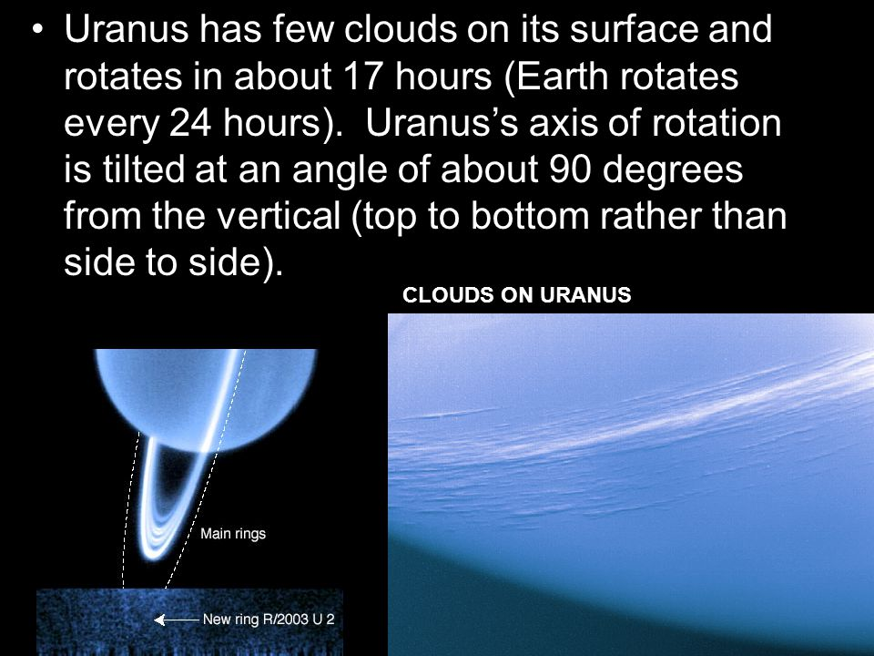 Uranus has few clouds on its surface and rotates in about 17 hours (Earth rotates every 24 hours). Uranus's axis of rotation is tilted at an angle of