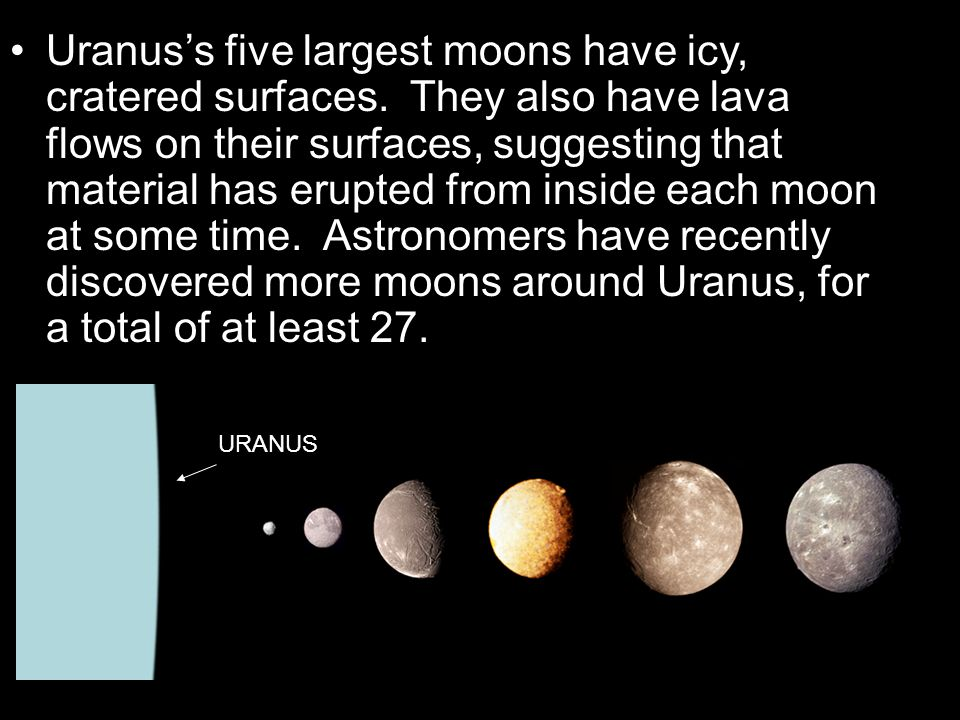 Uranus's five largest moons have icy, cratered surfaces. They also have lava flows on their surfaces, suggesting that material has erupted from inside