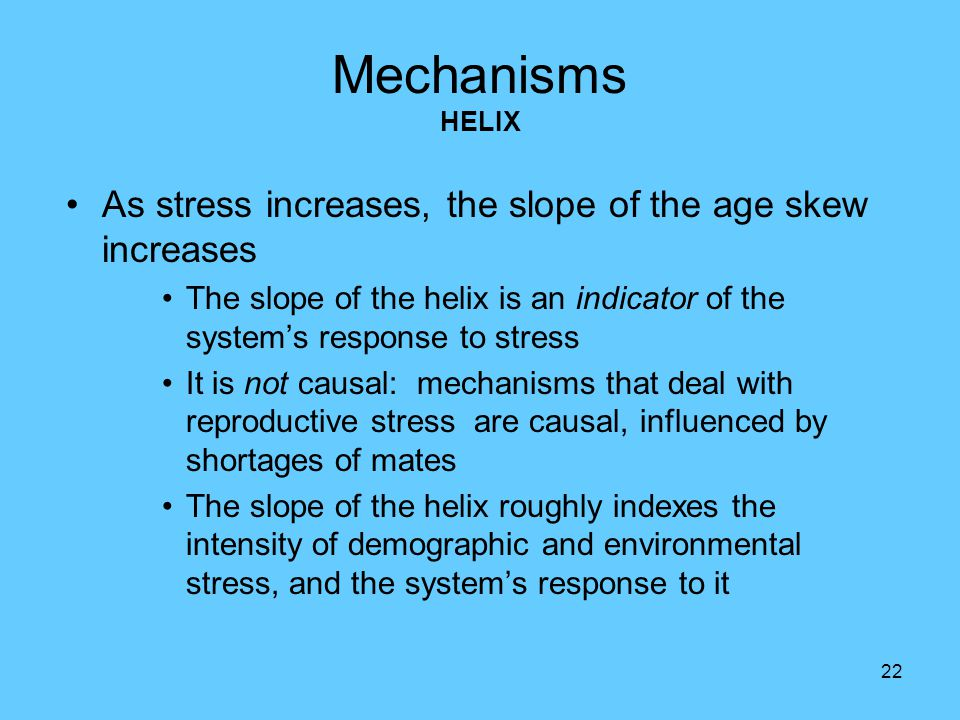 22 Mechanisms HELIX As stress increases, the slope of the age skew increases The slope of the helix is an indicator of the system's response to stress