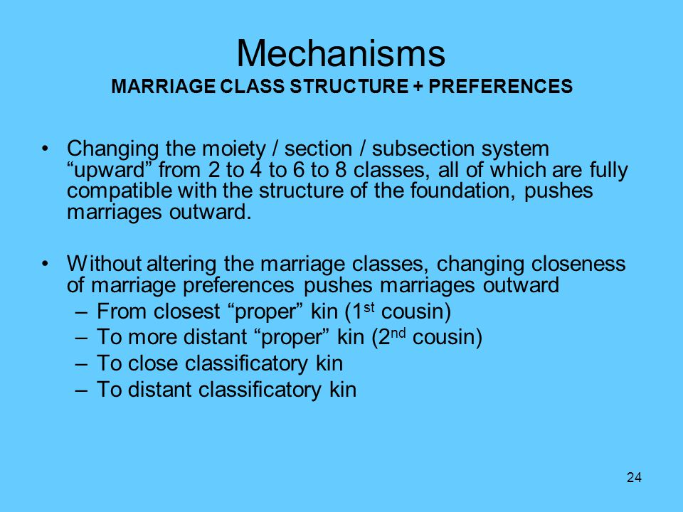 24 Changing the moiety / section / subsection system upward from 2 to 4 to 6 to 8 classes, all of which are fully compatible with the structure of the foundation, pushes marriages outward.