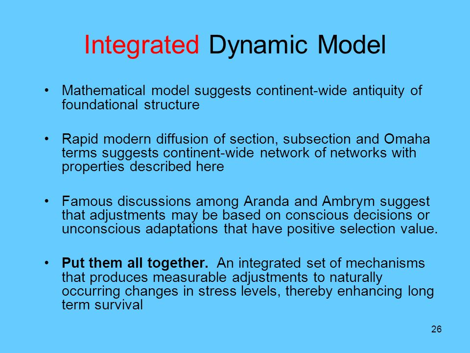 26 Integrated Dynamic Model Mathematical model suggests continent-wide antiquity of foundational structure Rapid modern diffusion of section, subsection and Omaha terms suggests continent-wide network of networks with properties described here Famous discussions among Aranda and Ambrym suggest that adjustments may be based on conscious decisions or unconscious adaptations that have positive selection value.
