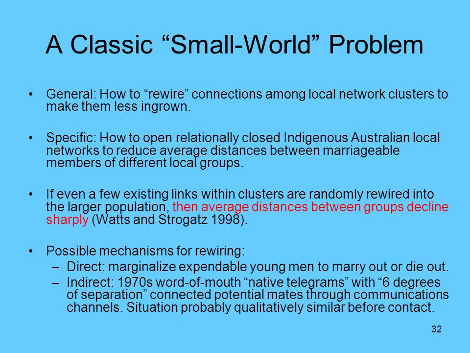 "32 A Classic ""Small-World"" Problem General: How to ""rewire"" connections among local network clusters to make them less ingrown. Specific: How to open"