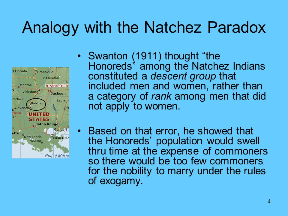 "4 Analogy with the Natchez Paradox Swanton (1911) thought ""the Honoreds"" among the Natchez Indians constituted a descent group that included men and w"