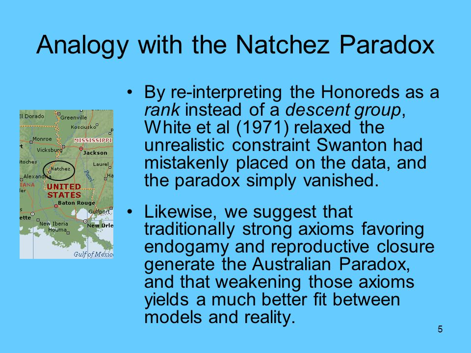 5 Analogy with the Natchez Paradox By re-interpreting the Honoreds as a rank instead of a descent group, White et al (1971) relaxed the unrealistic co