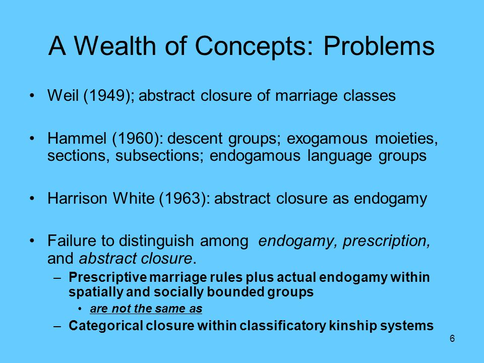 6 A Wealth of Concepts: Problems Weil (1949); abstract closure of marriage classes Hammel (1960): descent groups; exogamous moieties, sections, subsections; endogamous language groups Harrison White (1963): abstract closure as endogamy Failure to distinguish among endogamy, prescription, and abstract closure.
