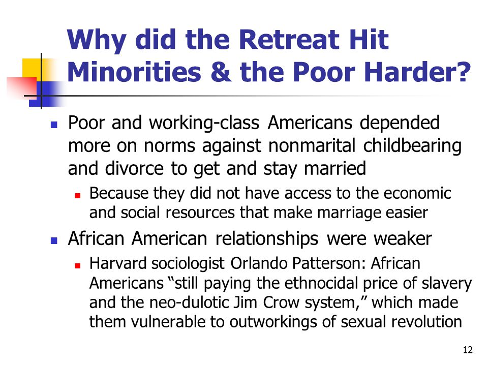 12 Why did the Retreat Hit Minorities & the Poor Harder.