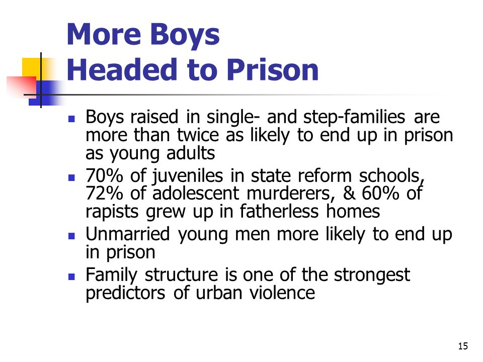 15 More Boys Headed to Prison Boys raised in single- and step-families are more than twice as likely to end up in prison as young adults 70% of juveniles in state reform schools, 72% of adolescent murderers, & 60% of rapists grew up in fatherless homes Unmarried young men more likely to end up in prison Family structure is one of the strongest predictors of urban violence