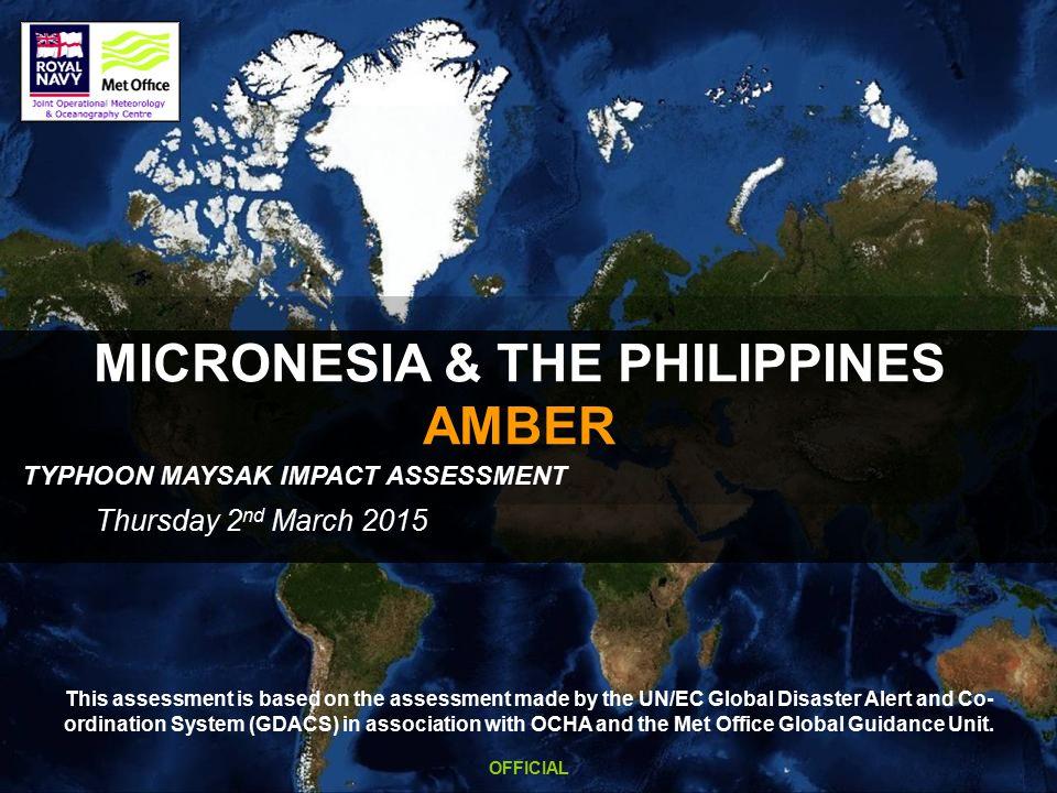 W Pacific TC MAYSAK - SATELLITE Headline Summary Typhoon Maysak is expected to make landfall on the eastern coast of central Luzon (Philippines) late Saturday/early Sunday.