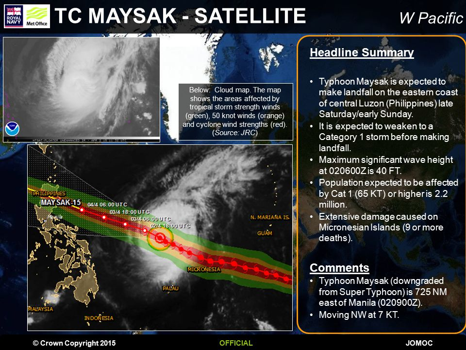 W Pacific IMPACT ASSESSMENT Typhoon MAYSAK is expected to have a MEDIUM humanitarian Impact.