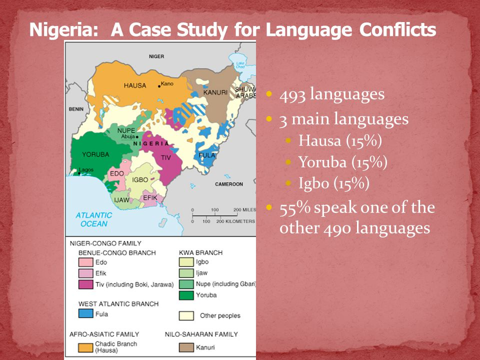 493 languages 3 main languages Hausa (15%) Yoruba (15%) Igbo (15%) 55% speak one of the other 490 languages