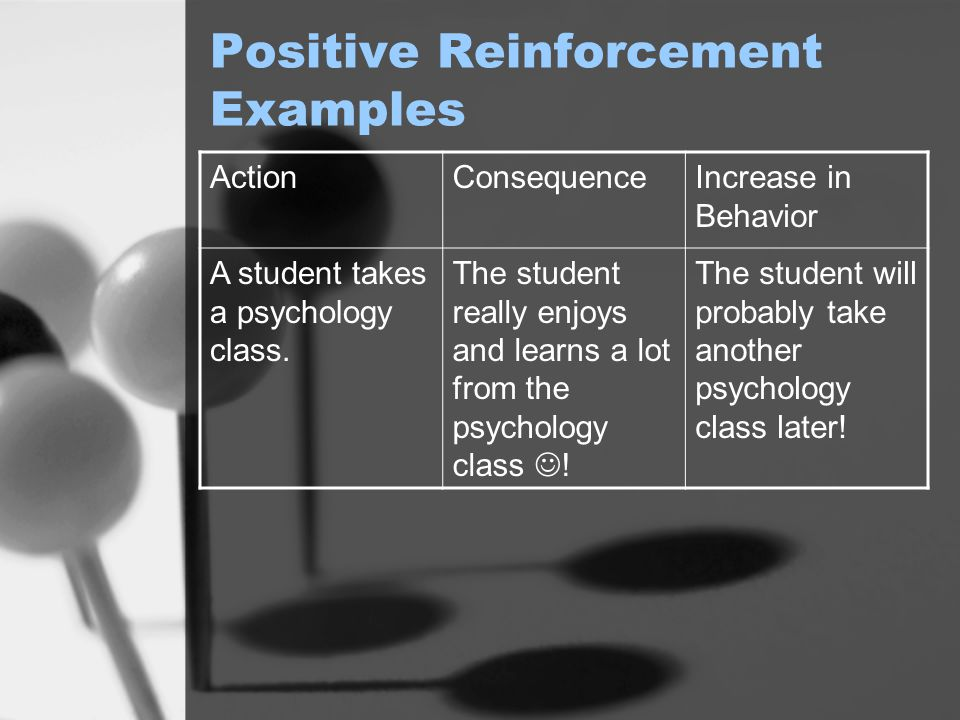 Positive Reinforcement Examples ActionConsequenceIncrease in Behavior A student takes a psychology class. The student really enjoys and learns a lot f