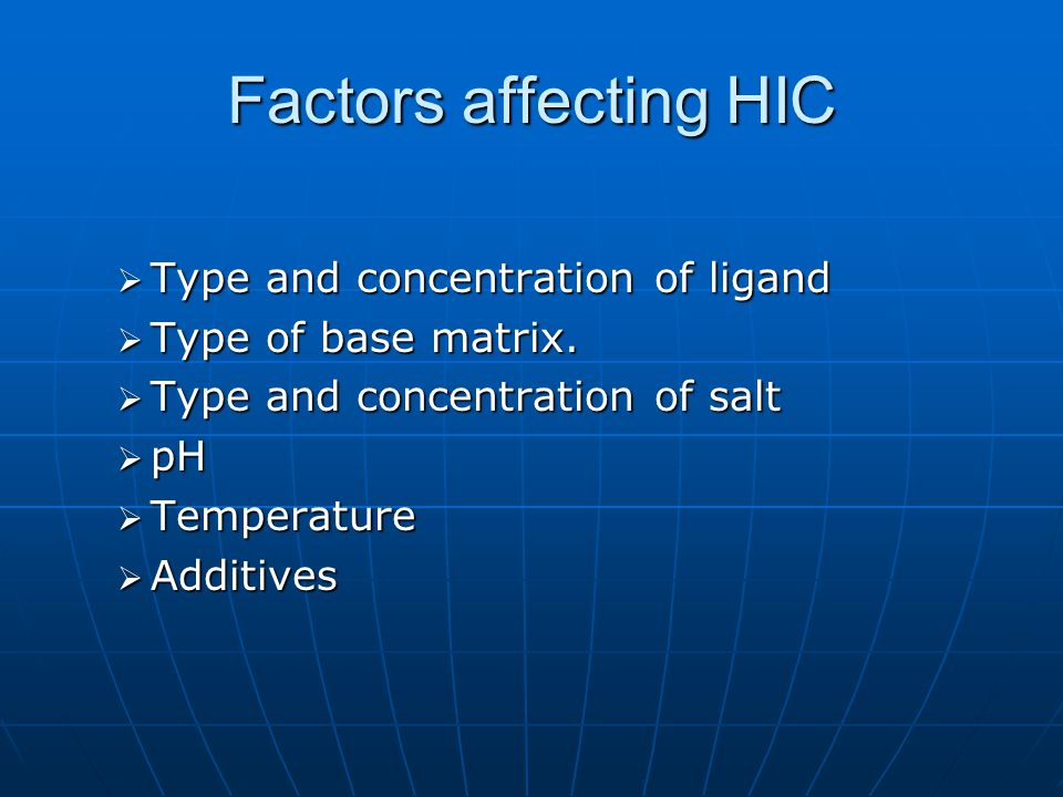 Factors affecting HIC  Type and concentration of ligand  Type of base matrix.