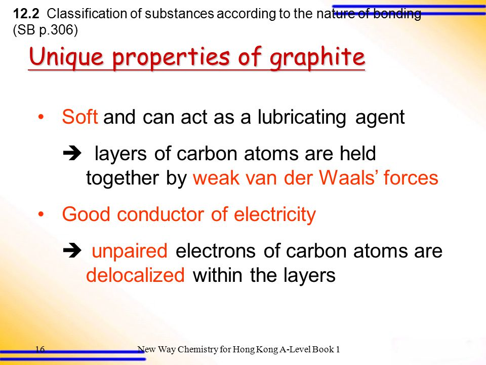 New Way Chemistry for Hong Kong A-Level Book 115 Unique properties of graphite 12.2 Classification of substances according to the nature of bonding (SB p.306) The giant covalent structure of graphite (a layered structure)
