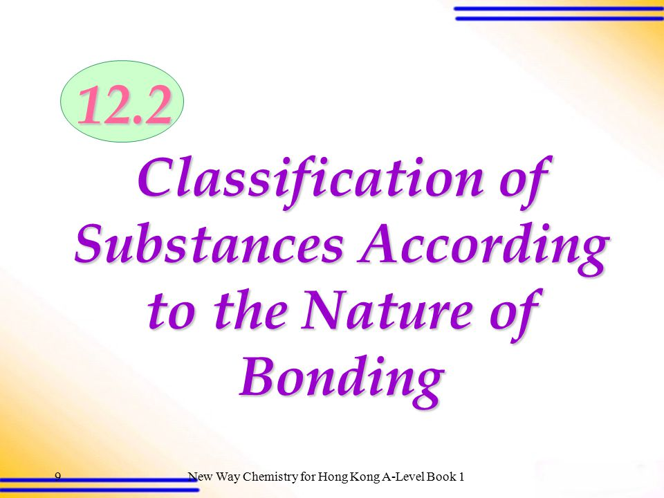 New Way Chemistry for Hong Kong A-Level Book 18 12.1 Classification of substances according to structures (SB p.303) Classification of substances acco