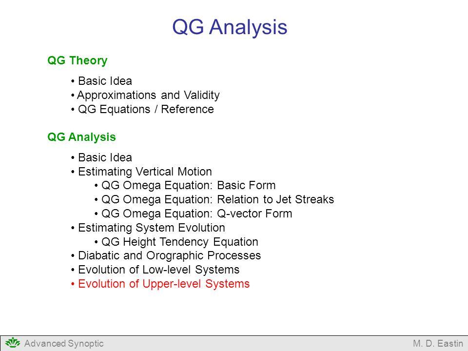 Advanced SynopticM. D. Eastin QG Analysis QG Theory Basic Idea Approximations and Validity QG Equations / Reference QG Analysis Basic Idea Estimating
