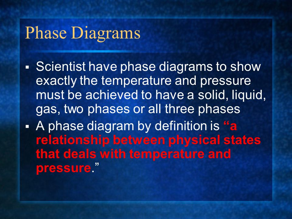 Phase Diagrams  Scientist have phase diagrams to show exactly the temperature and pressure must be achieved to have a solid, liquid, gas, two phases