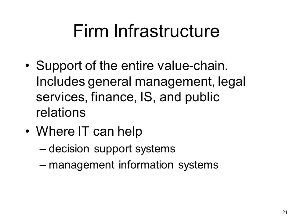 21 Firm Infrastructure Support of the entire value-chain.