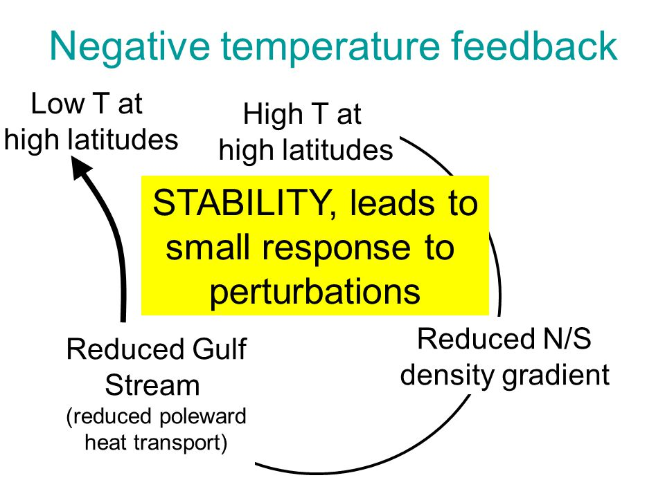 Low T at high latitudes Negative temperature feedback High T at high latitudes Reduced N/S density gradient Reduced Gulf Stream (reduced poleward heat transport) STABILITY, leads to small response to perturbations