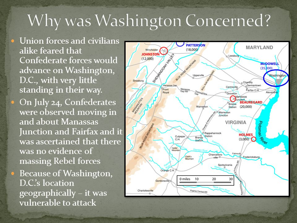 Union forces and civilians alike feared that Confederate forces would advance on Washington, D.C., with very little standing in their way.