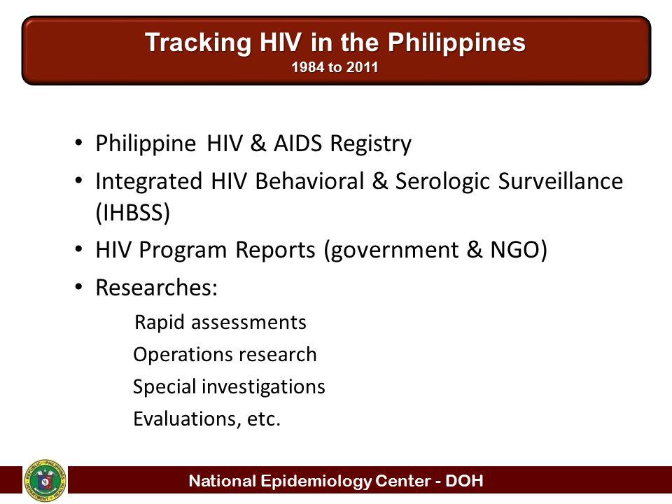 National Epidemiology Center - DOH Philippine HIV & AIDS Registry Integrated HIV Behavioral & Serologic Surveillance (IHBSS) HIV Program Reports (gove