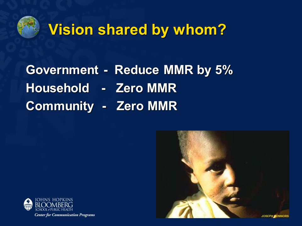 Vision shared by whom Government - Reduce MMR by 5% Household - Zero MMR Community - Zero MMR