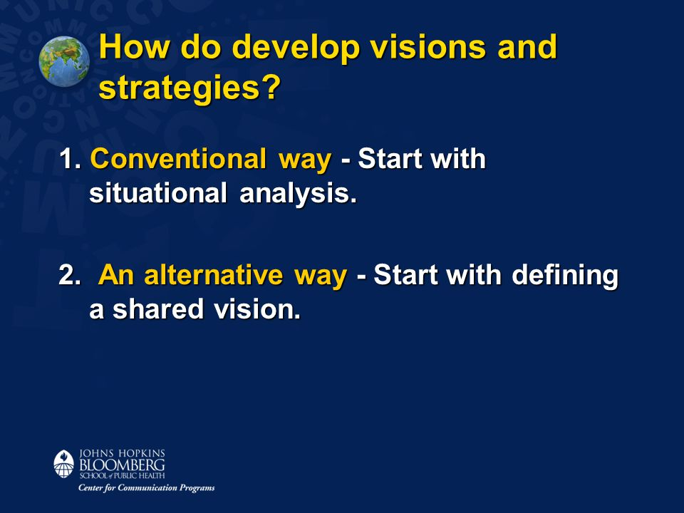 How do develop visions and strategies. 1. Conventional way - Start with situational analysis.