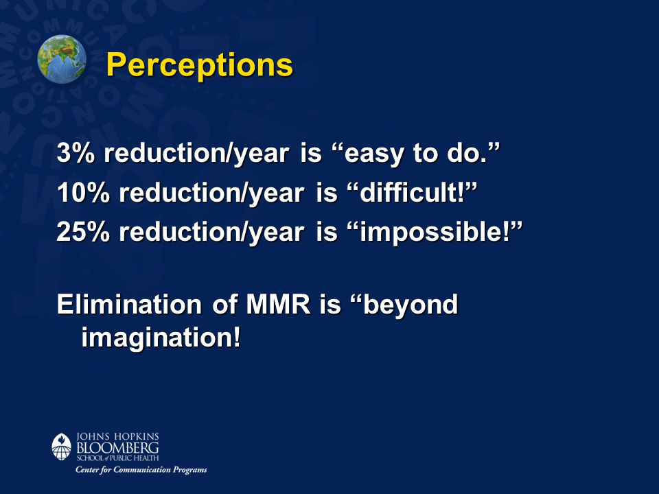 Perceptions 3% reduction/year is easy to do. 10% reduction/year is difficult! 25% reduction/year is impossible! Elimination of MMR is beyond imagination!
