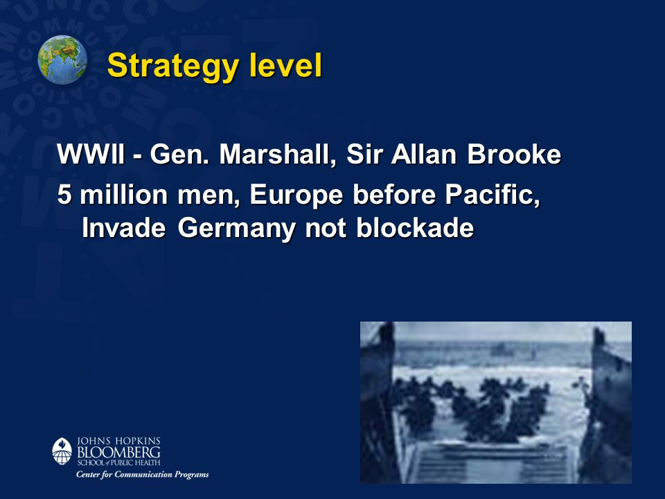 Strategy level WWII - Gen. Marshall, Sir Allan Brooke 5 million men, Europe before Pacific, Invade Germany not blockade