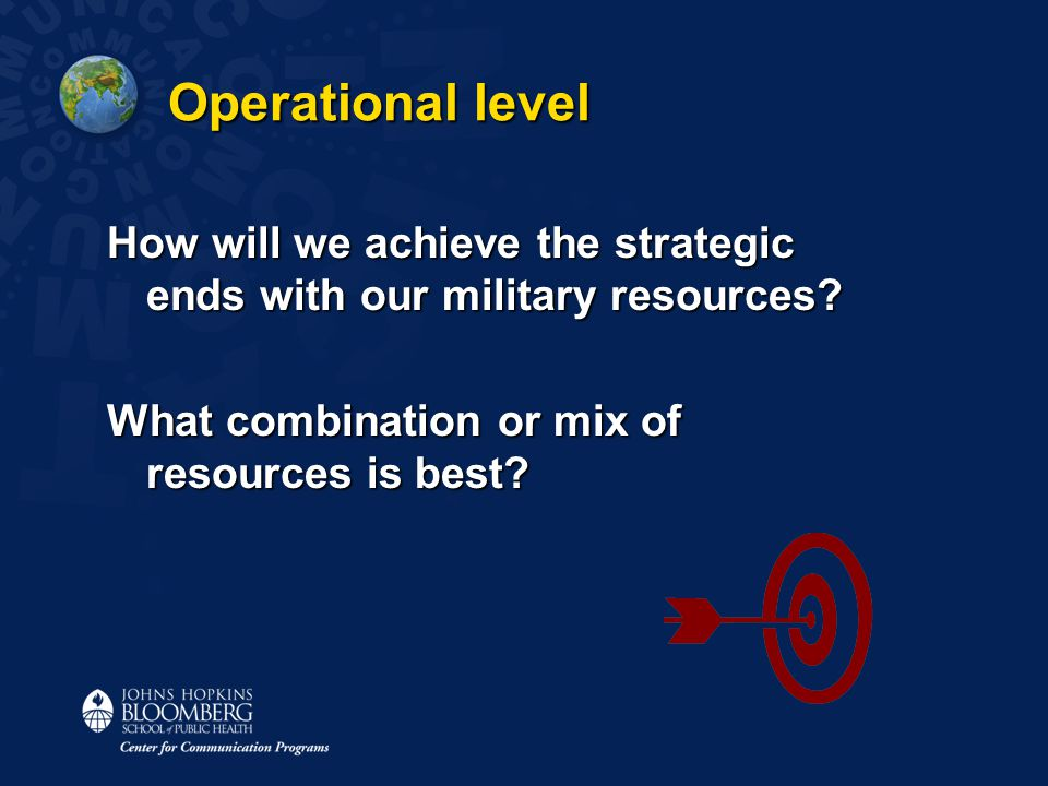 Operational level How will we achieve the strategic ends with our military resources.