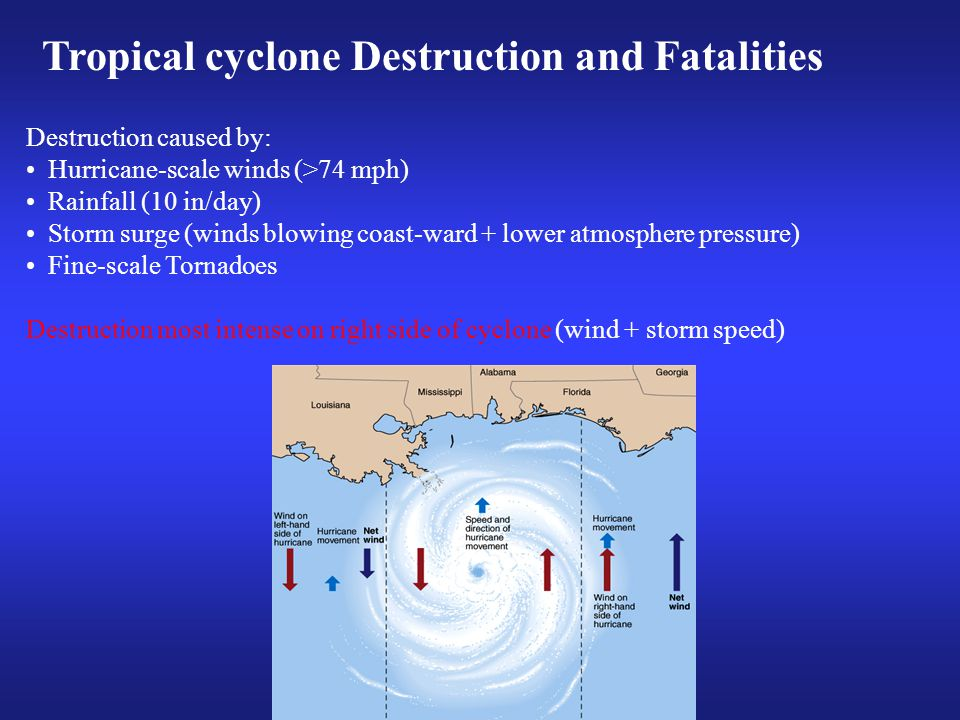 Destruction caused by: Hurricane-scale winds (>74 mph) Rainfall (10 in/day) Storm surge (winds blowing coast-ward + lower atmosphere pressure) Fine-scale Tornadoes Destruction most intense on right side of cyclone (wind + storm speed) Tropical cyclone Destruction and Fatalities
