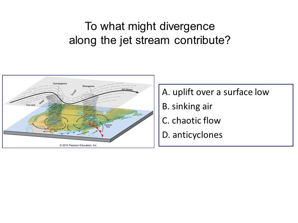 A. uplift over a surface low B. sinking air C. chaotic flow D.