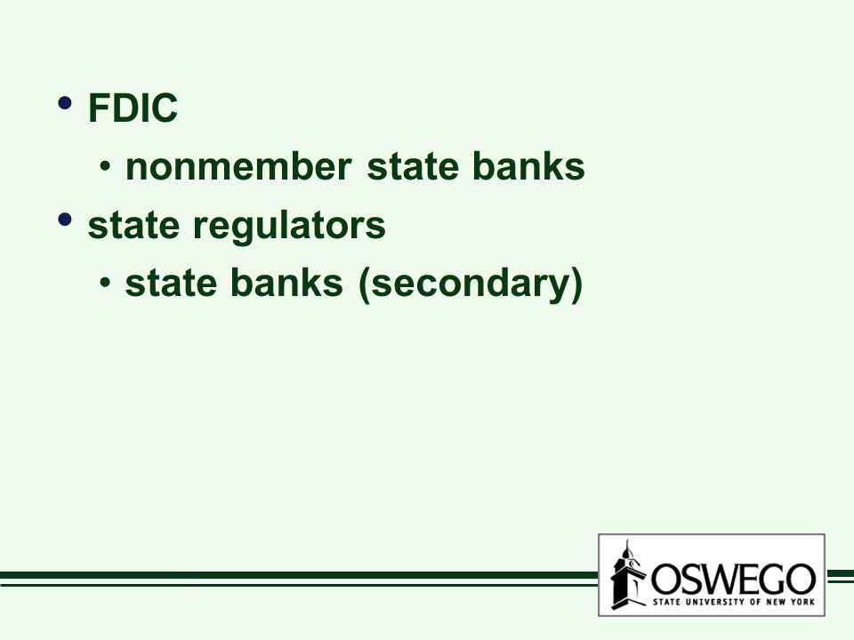 FDIC nonmember state banks state regulators state banks (secondary) FDIC nonmember state banks state regulators state banks (secondary)