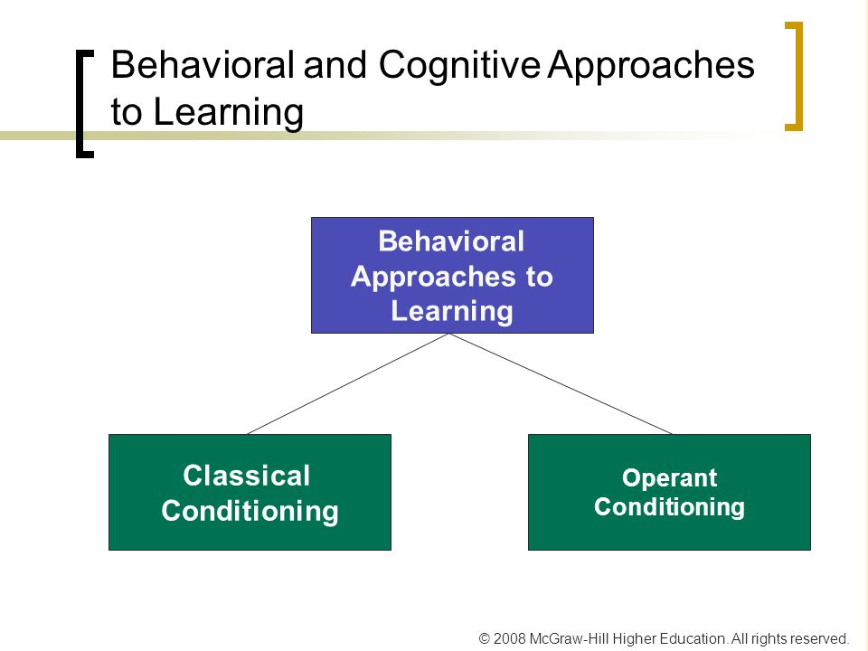 © 2008 McGraw-Hill Higher Education. All rights reserved. Behavioral and Cognitive Approaches to Learning Behavioral Approaches to Learning Classical