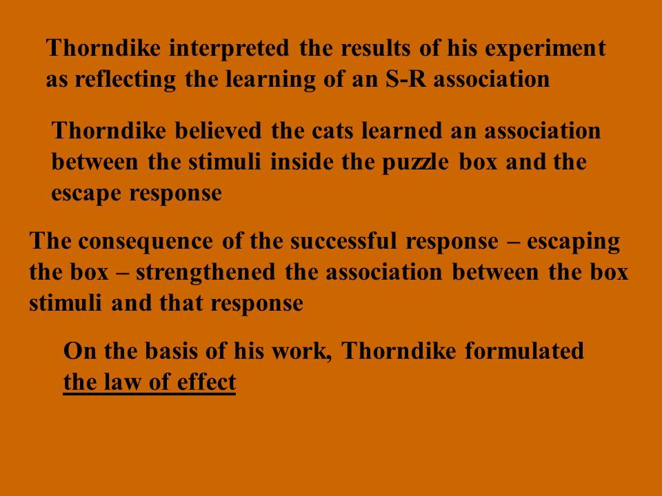Thorndike interpreted the results of his experiment as reflecting the learning of an S-R association Thorndike believed the cats learned an association between the stimuli inside the puzzle box and the escape response The consequence of the successful response – escaping the box – strengthened the association between the box stimuli and that response On the basis of his work, Thorndike formulated the law of effect