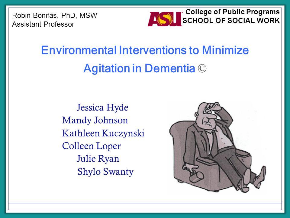 Environmental Interventions to Minimize Agitation in Dementia © Jessica Hyde Mandy Johnson Kathleen Kuczynski Colleen Loper Julie Ryan Shylo Swanty Ro