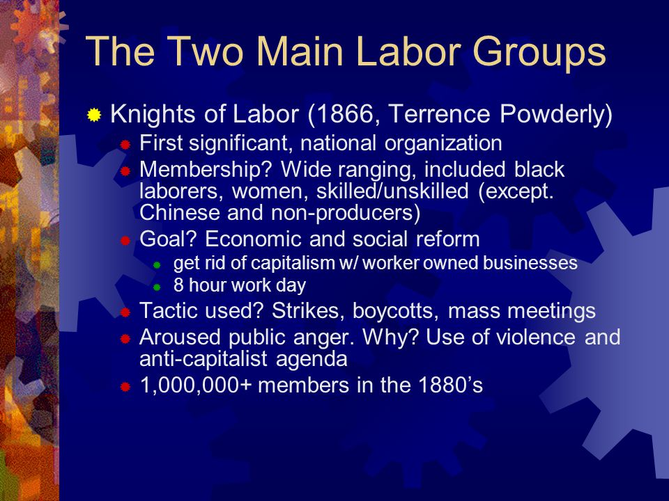  American Federation of Labor (AFL)  Founded in 1886 by Samuel Gompers  Mainstream voice of labor  Membership.