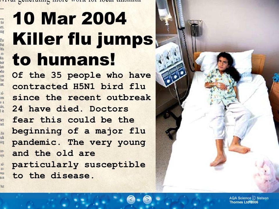 10 Mar 2004 Killer flu jumps to humans.