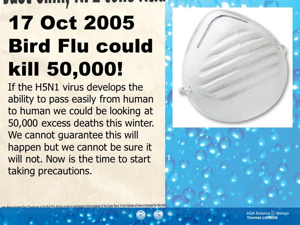 17 Oct 2005 Bird Flu could kill 50,000.