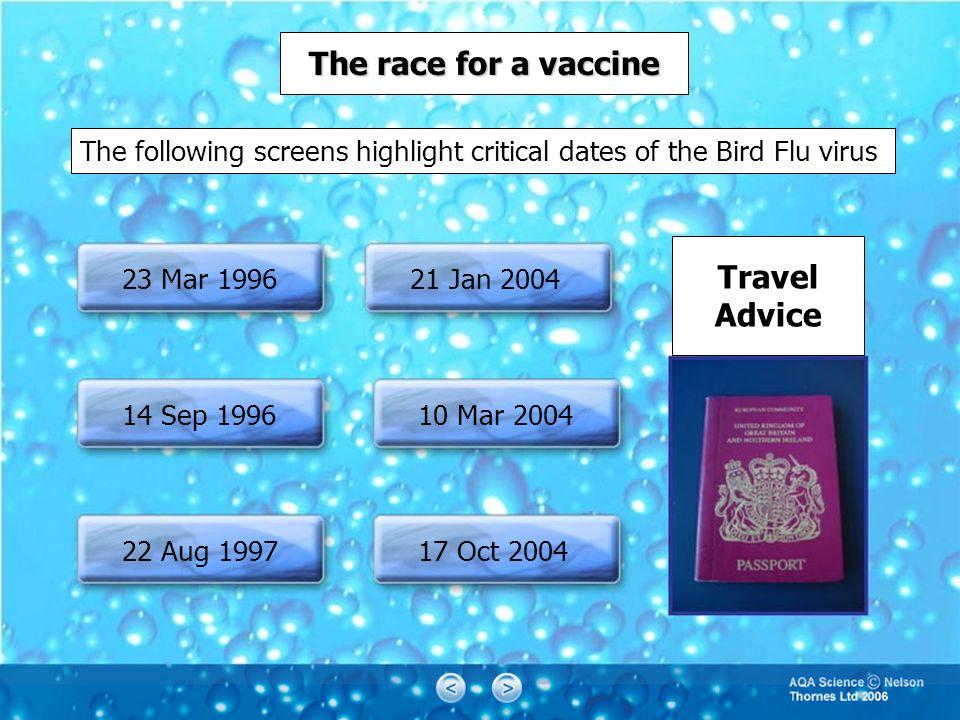 The race for a vaccine 23 Mar 1996 14 Sep 1996 22 Aug 1997 21 Jan 2004 10 Mar 2004 17 Oct 2004 Travel Advice The following screens highlight critical dates of the Bird Flu virus