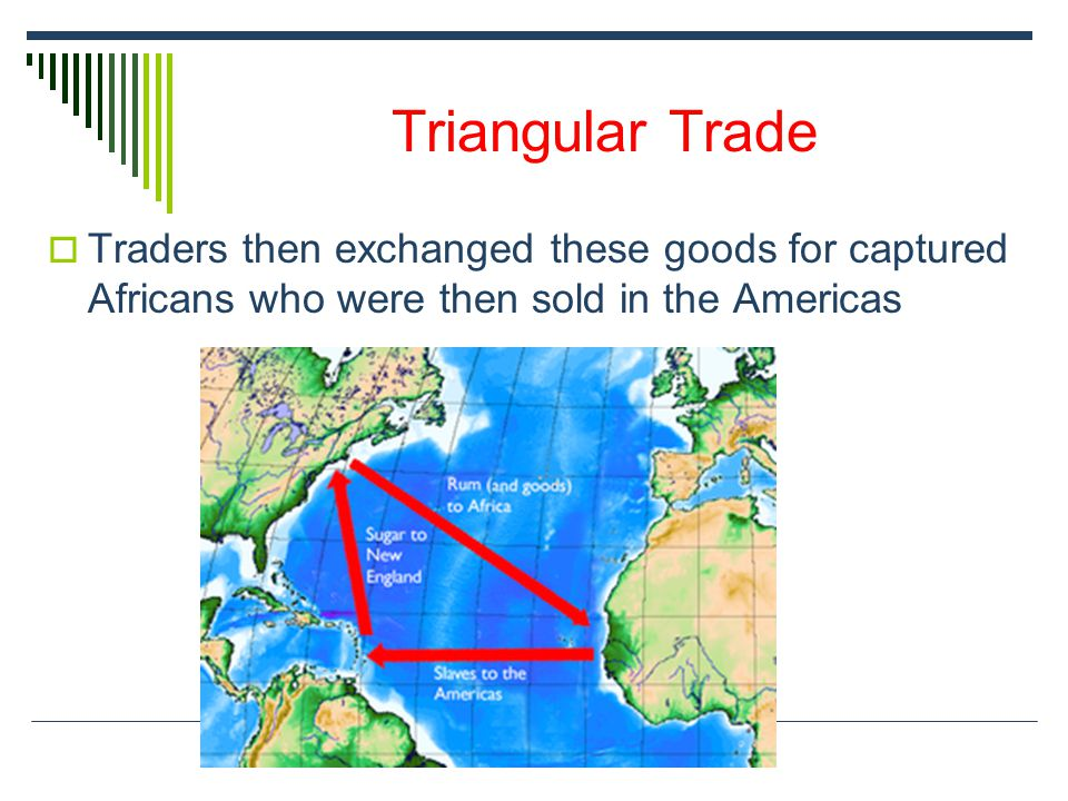 Triangular Trade  Traders then exchanged these goods for captured Africans who were then sold in the Americas