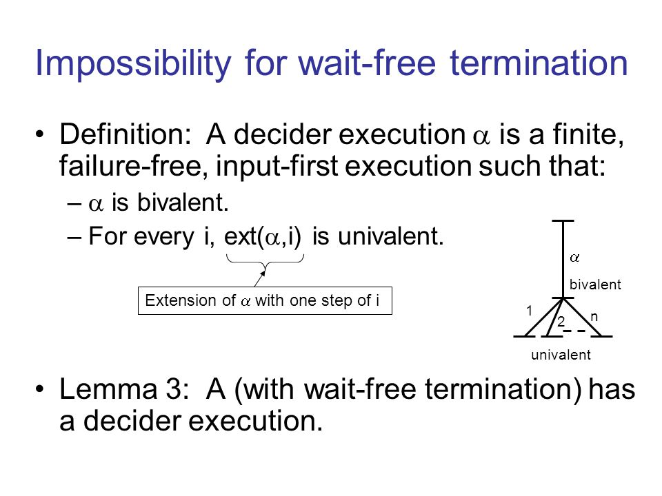 Definition: A decider execution  is a finite, failure-free, input-first execution such that: –  is bivalent.