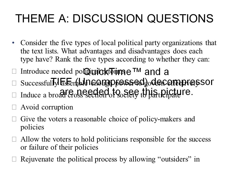Copyright © Houghton Mifflin Company. All rights reserved.9 | 28 THEME A: DISCUSSION QUESTIONS Consider the five types of local political party organi