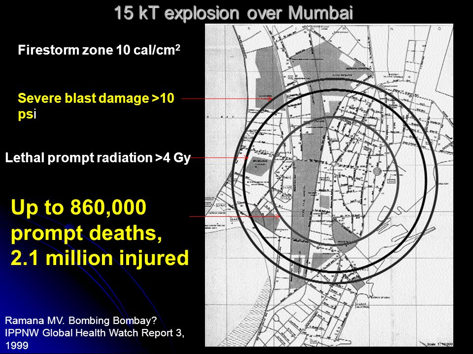 Early Effects of nuclear explosions Blast Blast direct direct Indirect Indirect Heat/flash Heat/flash Burns, blindness Burns, blindness fires fires Radiation Radiation Initial Initial Direct Direct Induction of radioactivity Induction of radioactivity Fallout Fallout Local (mostly external) Local (mostly external) Intermediate (mostly external) Intermediate (mostly external) Global (mostly internal) Global (mostly internal) Electromagnetic pulse Electromagnetic pulse communication systems break down Environmental effects Environmental effects on Biota (living things) on Climate Complex synergistic effects Complex synergistic effects > e.g.
