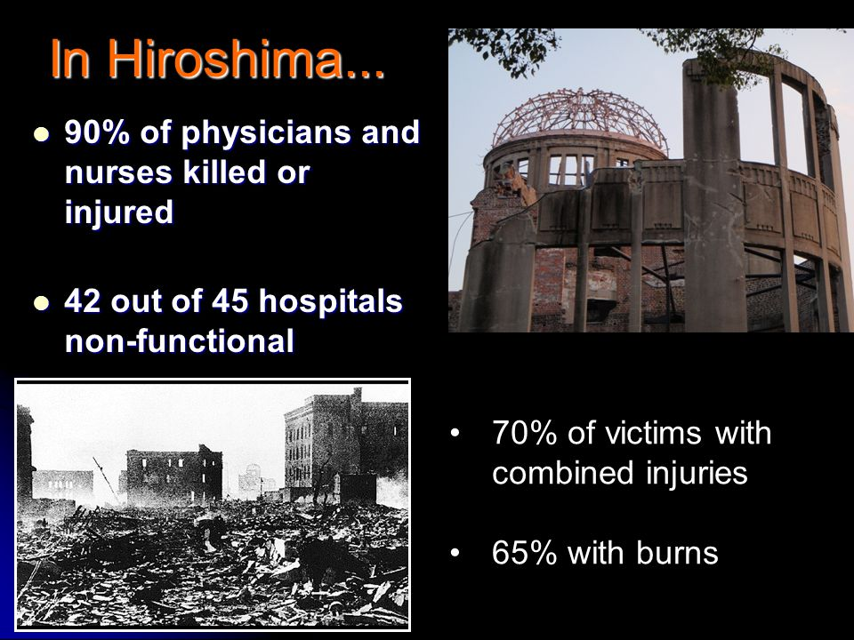 In Hiroshima... 90% of physicians and nurses killed or injured 90% of physicians and nurses killed or injured 42 out of 45 hospitals non-functional 42