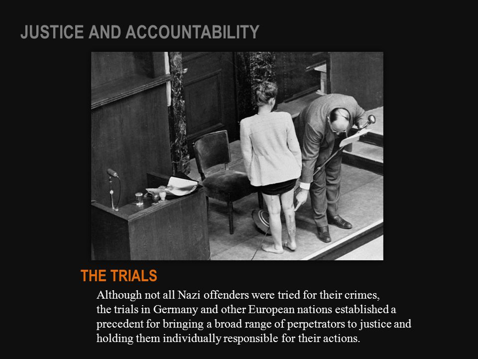 Although not all Nazi offenders were tried for their crimes, the trials in Germany and other European nations established a precedent for bringing a b