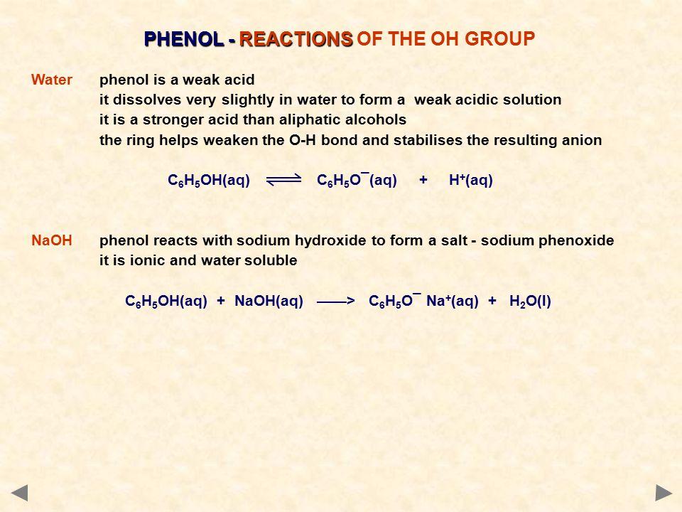 PHENOL - REACTIONS PHENOL - REACTIONS OF THE OH GROUP Waterphenol is a weak acid it dissolves very slightly in water to form a weak acidic solution it