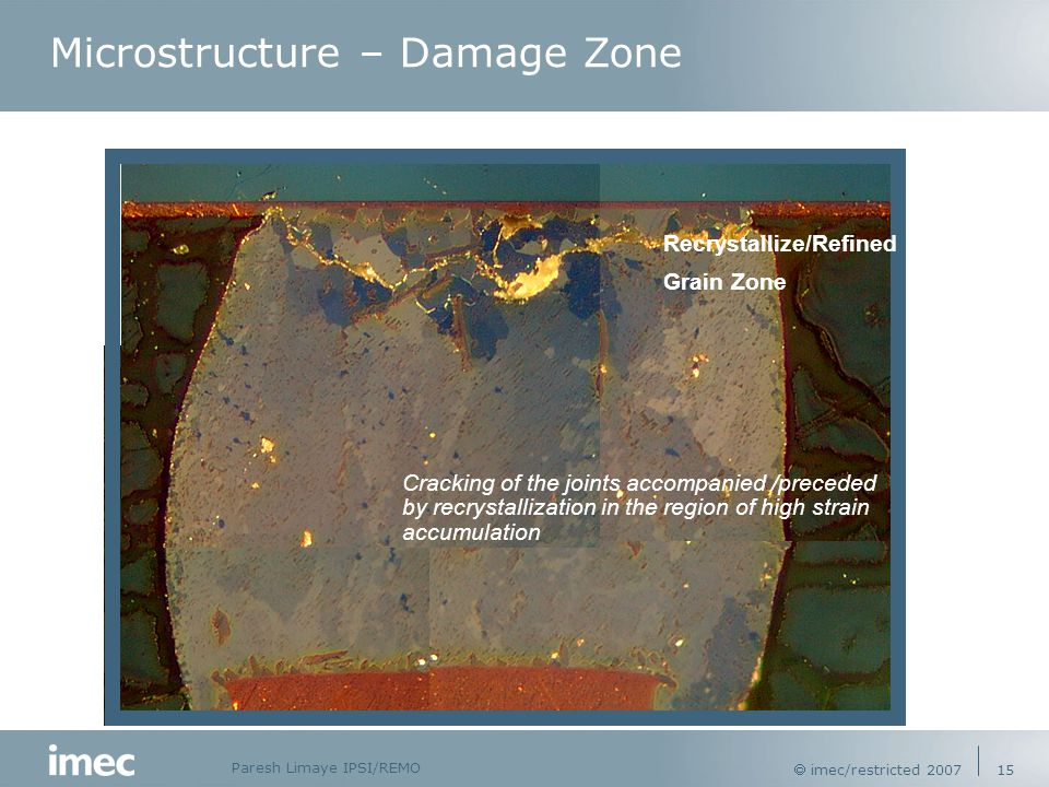 Paresh Limaye IPSI/REMO  imec/restricted 2007 15 Recrystallize/Refined Grain Zone Cracking of the joints accompanied /preceded by recrystallization in the region of high strain accumulation Microstructure – Damage Zone