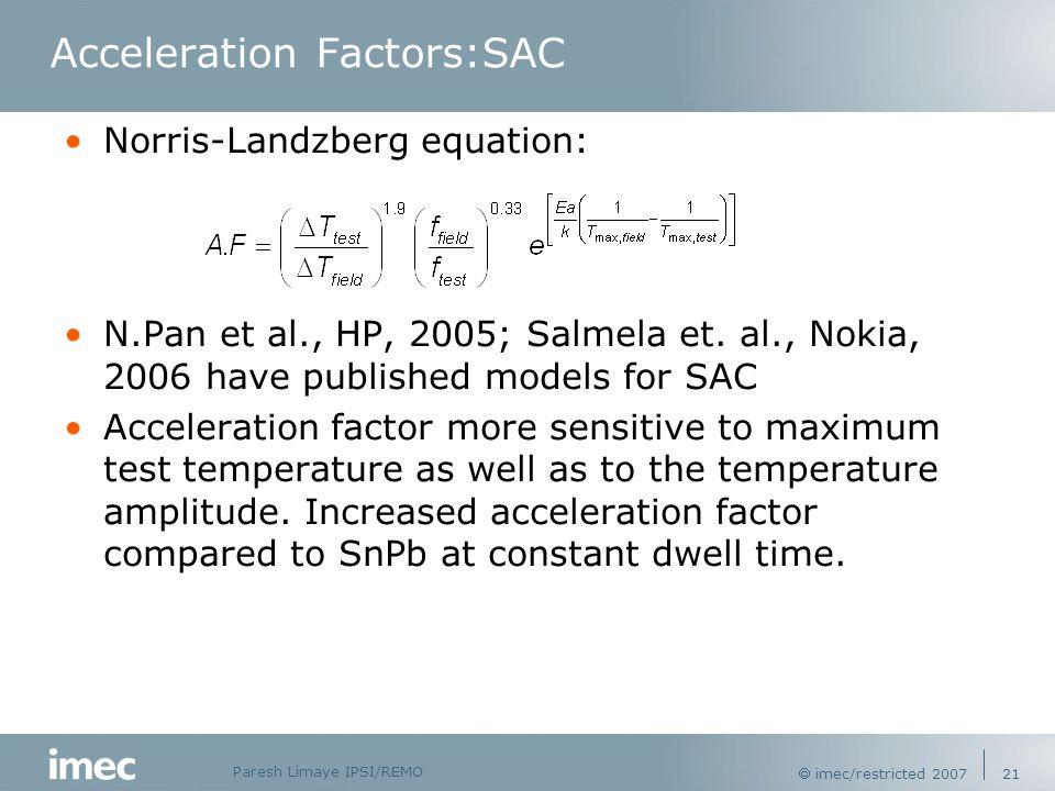 Paresh Limaye IPSI/REMO  imec/restricted 2007 21 Acceleration Factors:SAC Norris-Landzberg equation: N.Pan et al., HP, 2005; Salmela et.